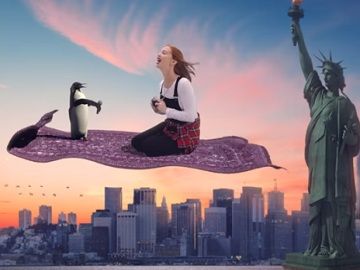 Jackie Oshry - Girl with Penguin on Flying Carpet - Yahoo Commercial