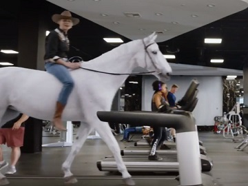 SafeAuto Commercial - Woman Riding a Horse on Treadmill