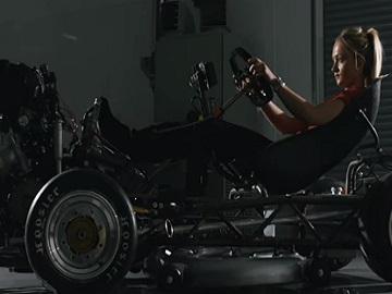 Jessica Hawkins in Honda Mean Mower Advert