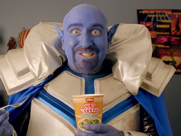Nissin Cup Noodles Commercial - Blue Man with Sharp Ears