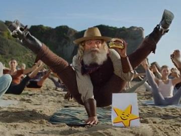 Carl's Jr. Commercial - Old Cowboy Doing Yoga