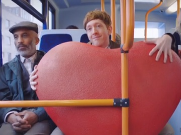 Moonpig TV Advert - Man with Giant Red Heart on the Bus