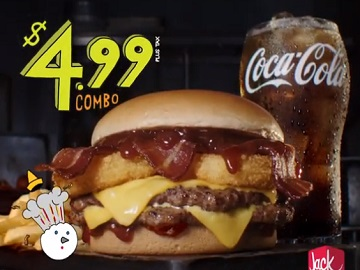 Jack in the Box $4.99 BBQ Bacon Double Cheeseburger Combo Commercial