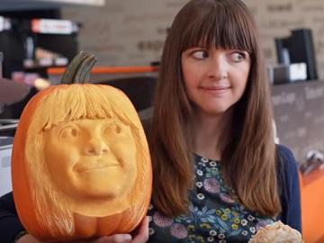 Dunkin' Commercial Girl - Carved Pumpkin