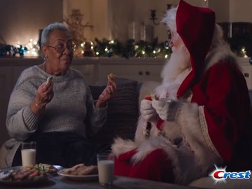 Crest Commercial: Old Lady Eating Cookies with Santa