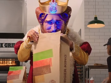Burger King Commercial - The King Looking In Large BK Bag