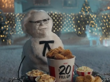 KFC Colonel Snowman Free Postmates Delivery Commercial