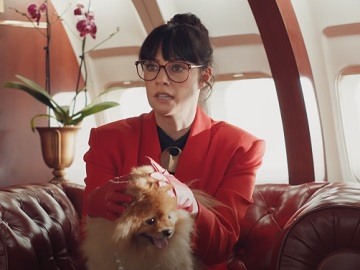 Little Caesars Pizza Private Jet Commercial - Woman in Red with Dog