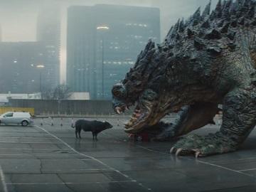 MoneySuperMarket Money Calm Bull Red Convertible Destroyed by Godzilla Monster Advert