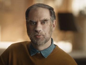 Temptations Creamy Purrrr-ée Man Looking Like a Cat Commercial Actor